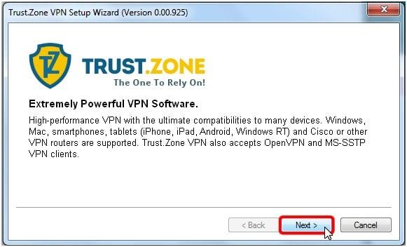 Trust.Zone Windows 8 Client Setup Step 3