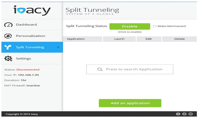 Ivacy Split tunneling