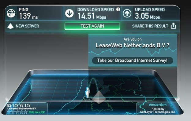 OneVPN Speed Test Netherlands Server -VPN Over SSL