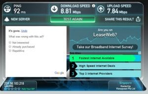 OneVPN Speed Test Singapore Server – OpenVPN UDP