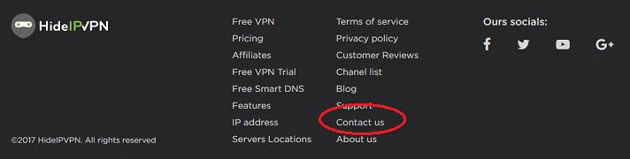 HideIPVPN website footer
