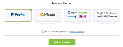 HideIPVPN payment form