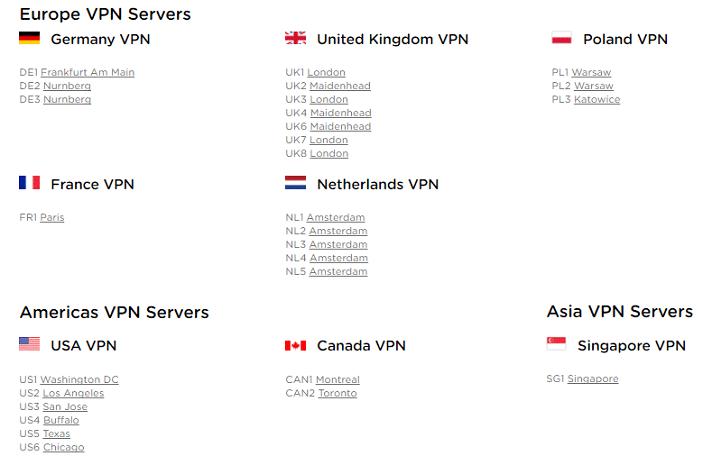 HideIPVPN servers