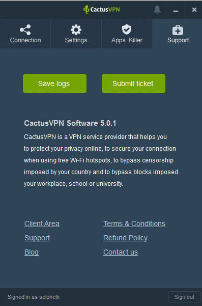 Cactus VPN Support