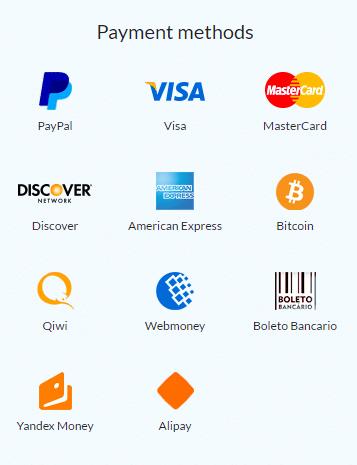 Cactus VPN payment methods
