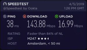 cyberghost vpn speeds in Amsterdam