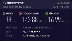 cyberghost vpn speeds in Amsterdam