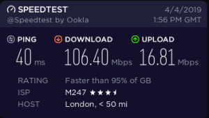 cyberghost vpn speeds london