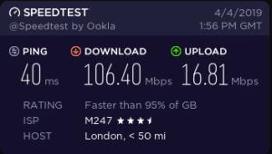 cyberghost vpn speeds london